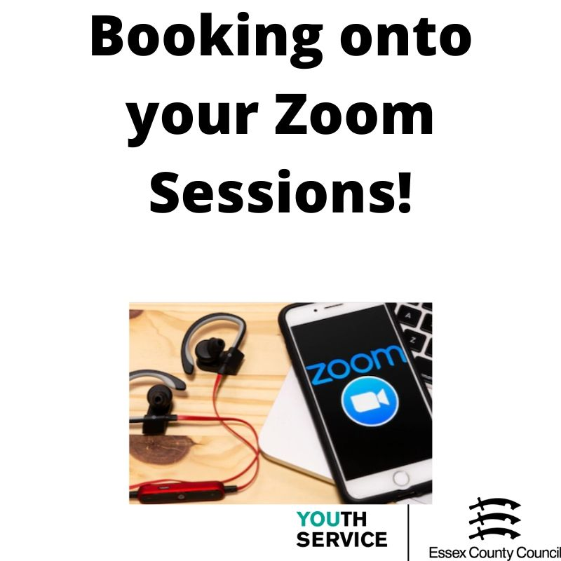 Headphones and mobile phone with Zoom logo on the screen